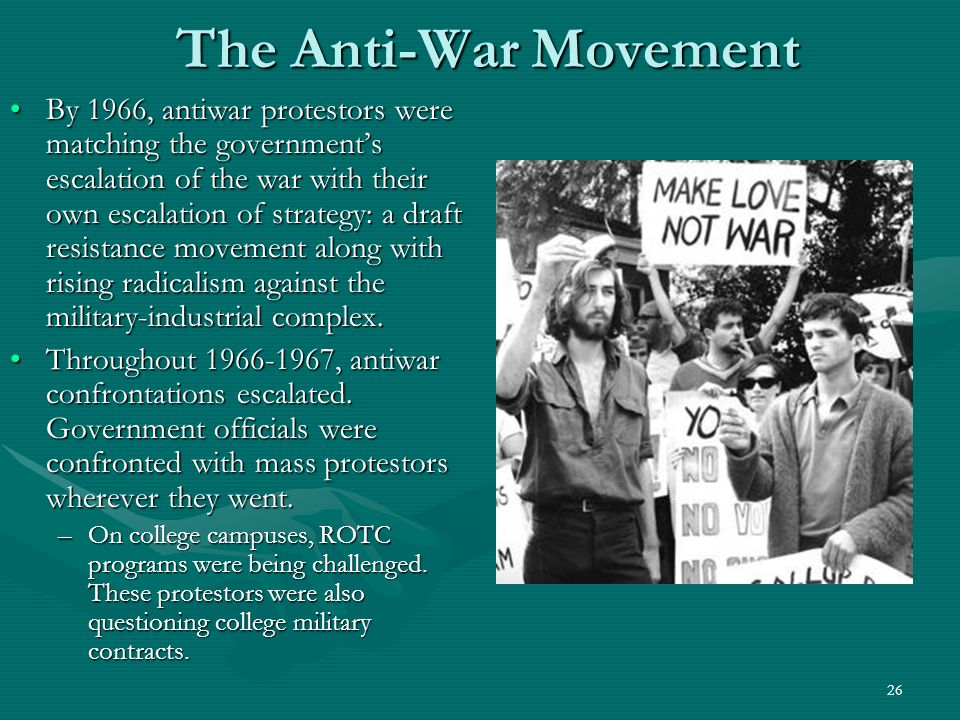 27 The Rise of the Counterculture The Vietnam War provided the galvanizing element that united the various protestors of the 1960s.The Vietnam War provided the galvanizing element that united the various protestors of the 1960s.