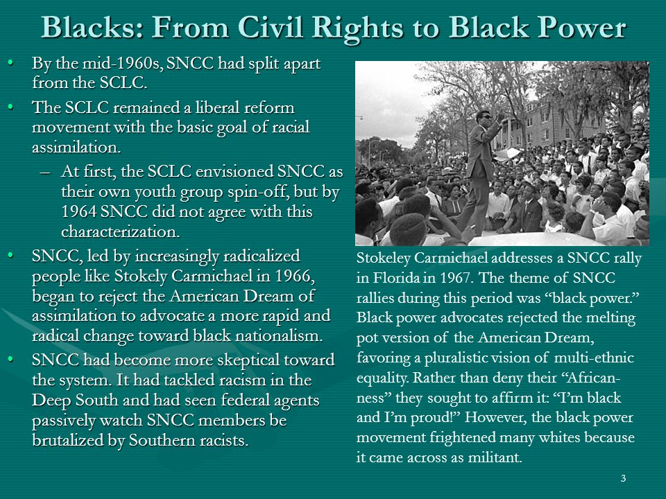 4 Rising SNCC Radicalism The beginning of the split between the SCLC and SNCC probably occurred during the famous 1963 March on Washington where King gave his I Have a Dream speech.The beginning of the split between the SCLC and SNCC probably occurred during the famous 1963 March on Washington where King gave his I Have a Dream speech.