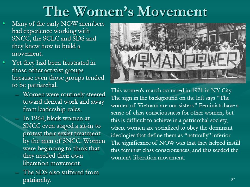 38 The Women's Movement As women came together to share their personal experiences, they developed a new sense of strength and solidarity (class consciousness).As women came together to share their personal experiences, they developed a new sense of strength and solidarity (class consciousness).