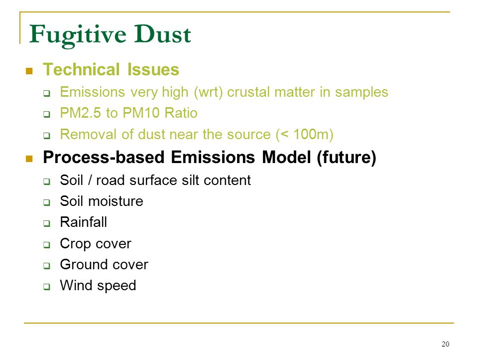 21 Other PM Priority Source Categories Mobile Sources  Mobile 6 & NONROAD (2004 version)  NMIM, consolidated model w/ county database Temperature, barometric pressure Fuel properties Vehicle Kilometers Traveled  Complete rework of models forthcoming Multi-scale mOtor Vehicle & equipment Emissions System Ammonia  Process-based model under development by RPO's Condensibles  Including condensibles increased PM2.5 significantly