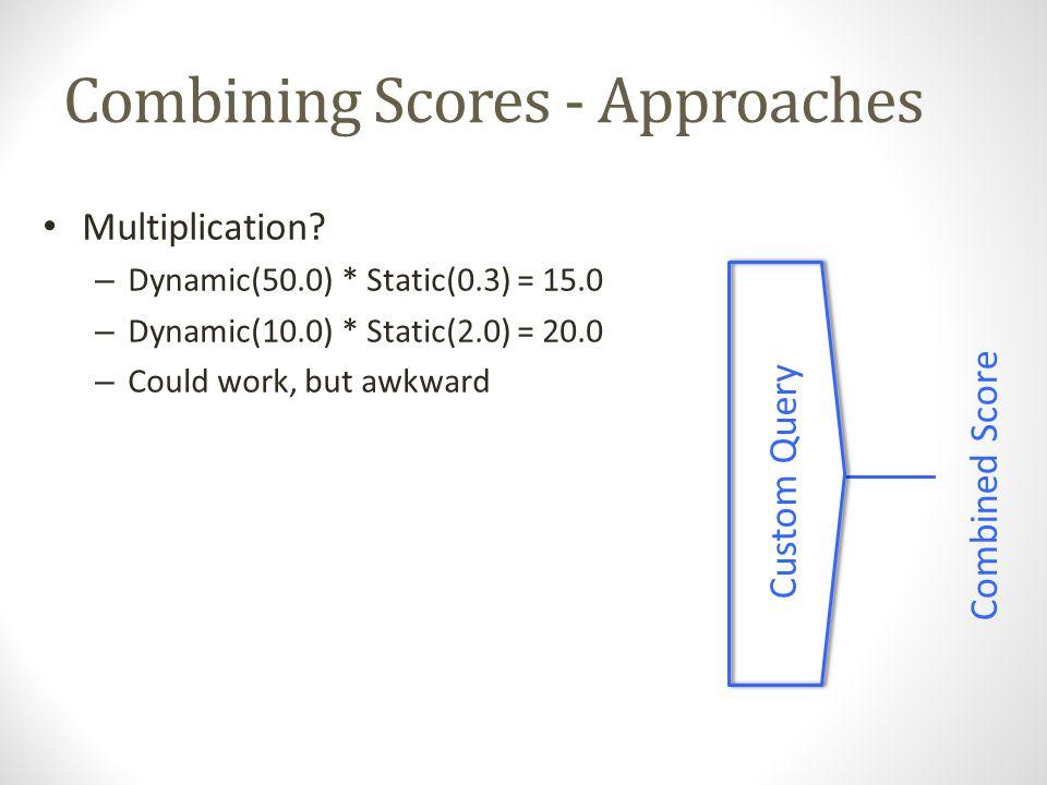 Combining Scores - Approaches Linear Query Combined Score 1.Bound StaticScore: -1.0 to 1.0 2.CScore = DScore*(100+S%*SScore) – At most, staticRank will boost/demote dynamicScore by S% – CScore = 0.014 * (100+30*0.5) – CScore = 145.3 * (100+30*-0.5)