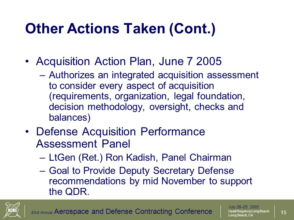 July 28–29, 2005 Hyatt Regency Long Beach Long Beach, CA 43rd Annual Aerospace and Defense Contracting Conference 16 Role of Audit Agencies and IG Employees Need to be Encouraged to Disclose Suspected Wrongdoing.