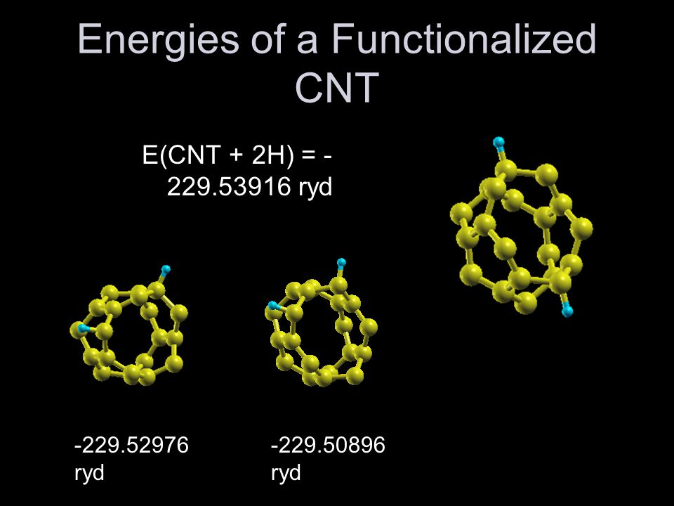 Results Energy required to functionalize a 5,0 CNT with 2H is given by: E f = E(CNT + 2H) – E(CNT) –E(H2) E f = -0.05248 ryd Since E f < 0, E(CNT + 2H) is at lower energy.
