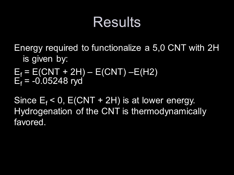 Future Work Study the physical properties and characteristics of a hydrogenated CNT.
