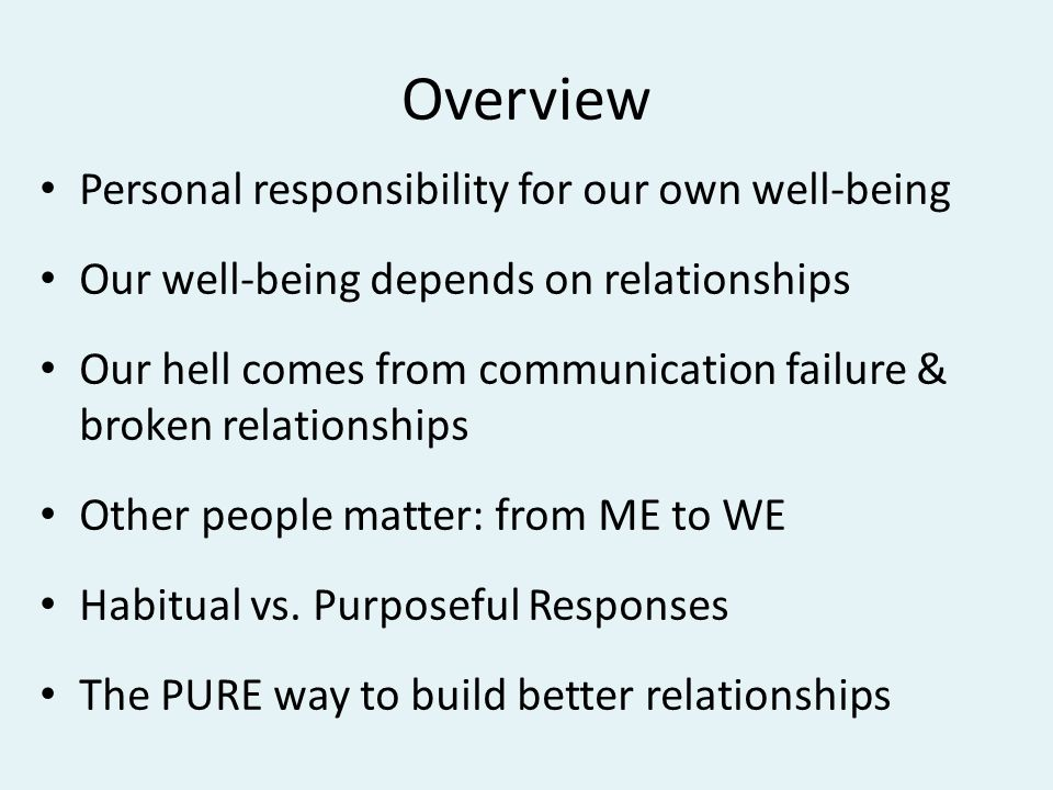 Personal responsibility for well-being Take full responsibility for our own lives Find our true self Create our own future Regulate our emotions Control our behavior Do what is right Maintain good relationships