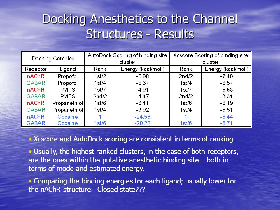Docking Anesthetics to the Channel Structures - Results