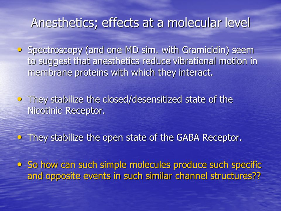 What is the mode of Anesthetic Action.
