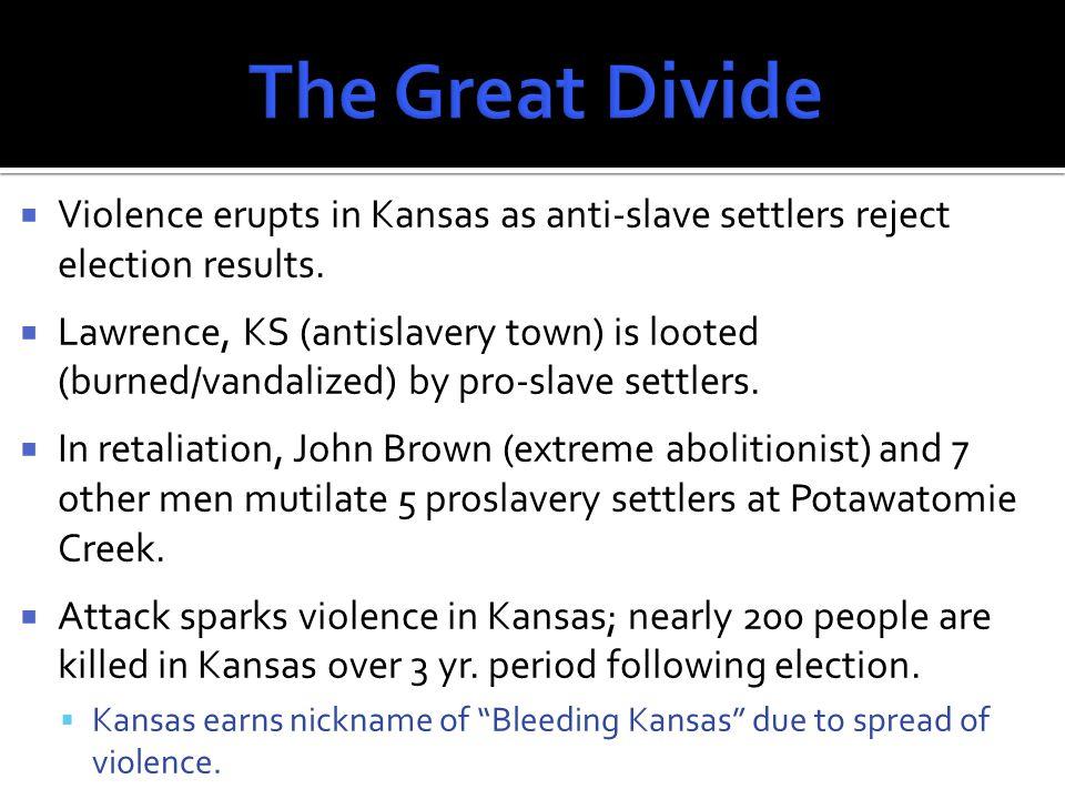  In May 1856, Sen.Charles Sumner spoke out against proslavery settlers in Kansas.