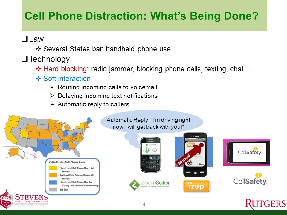  Current Apps that actively prevent cell phone use in vehicle  ONLY detect the phone is in vehicle or not.