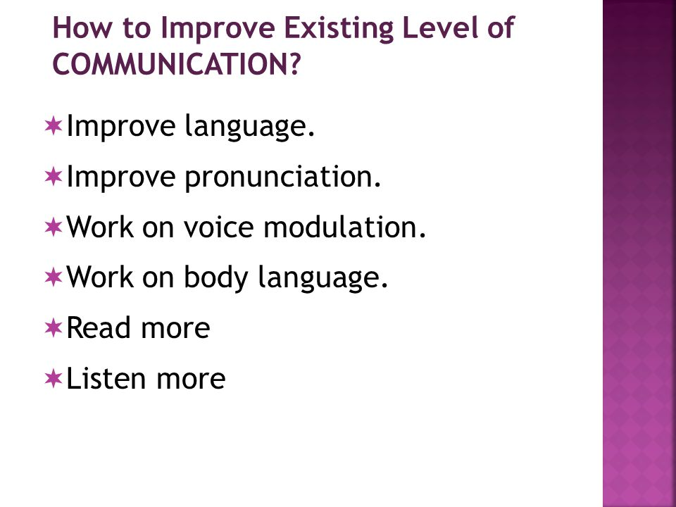 How to Improve Existing Level of COMMUNICATION.