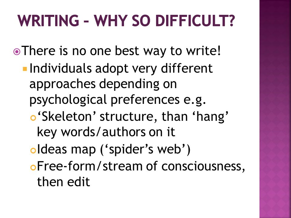 When you write, consider the following:  Who is the audience.