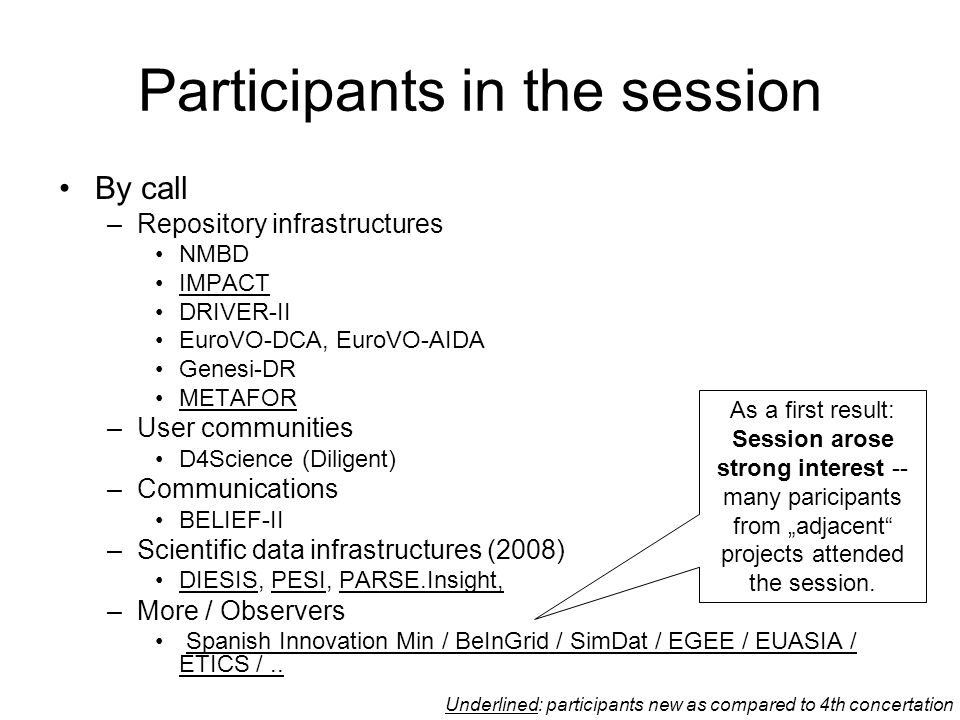 """Contextualizing the session Data-Projects are """"user driven –horizontal standards play role of a commodity –Are supplemented by """"vertical / community standards –Diversity is a declared objective Inherent paradox of subject differentiation and standards –Different Perspective than in Connectivity and Middleware –Researchers mainly interested in their subject Standardization too technical –Standard devlopers interested in technology overwhelmed with subject complexity –We need interpreters in between Horizontal Standards Vertical Communities"""