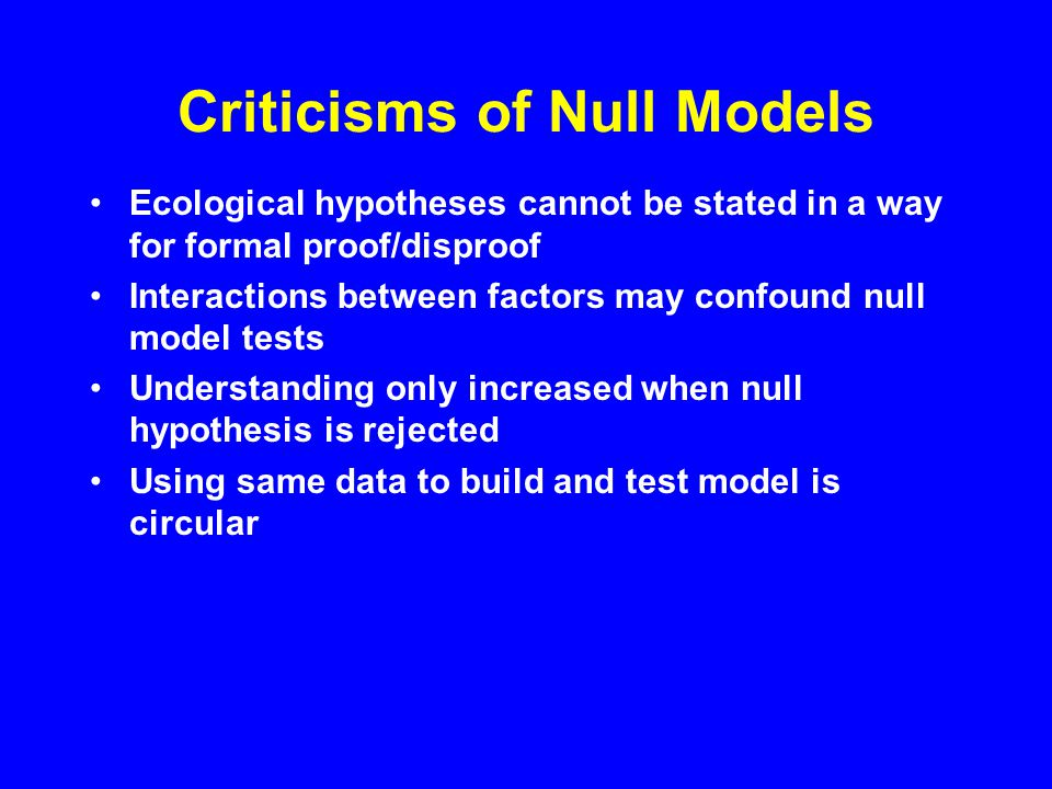 Controversy over Null Model Analysis Early studies challenged conventional examples Philosophical debate over falsification Statistical debate over null model construction Lack of powerful software
