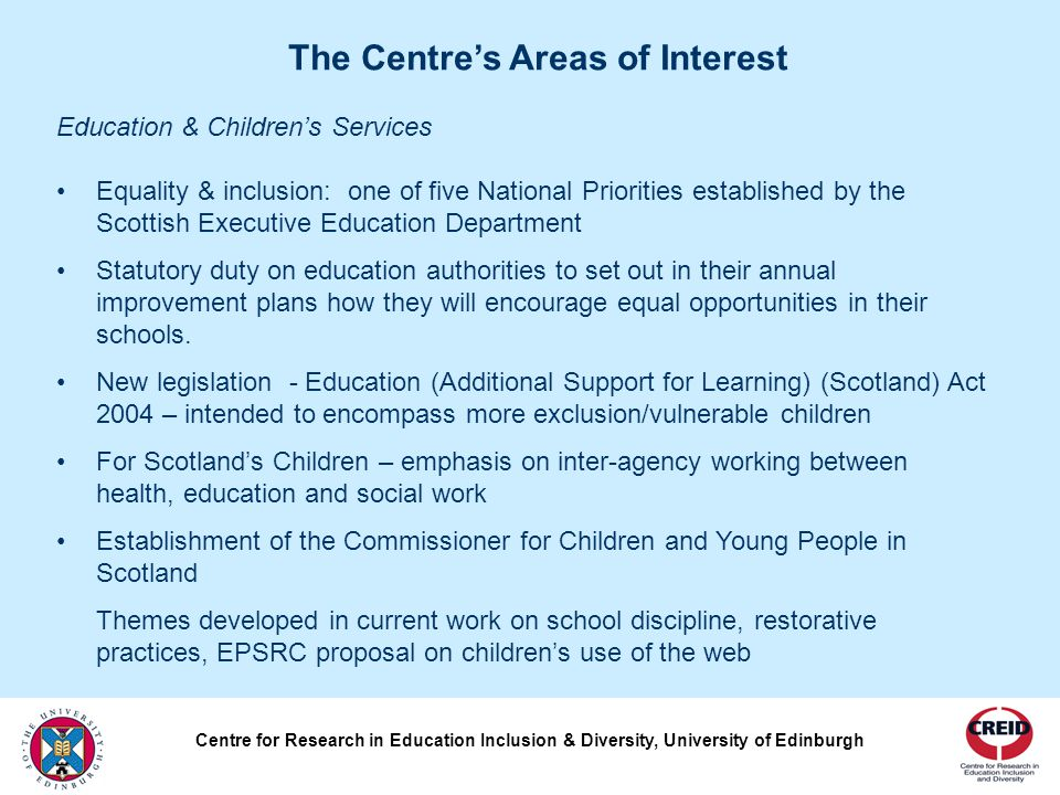 Government policy on lifelong learning, training and employment stresses principles of inclusion and diversity.