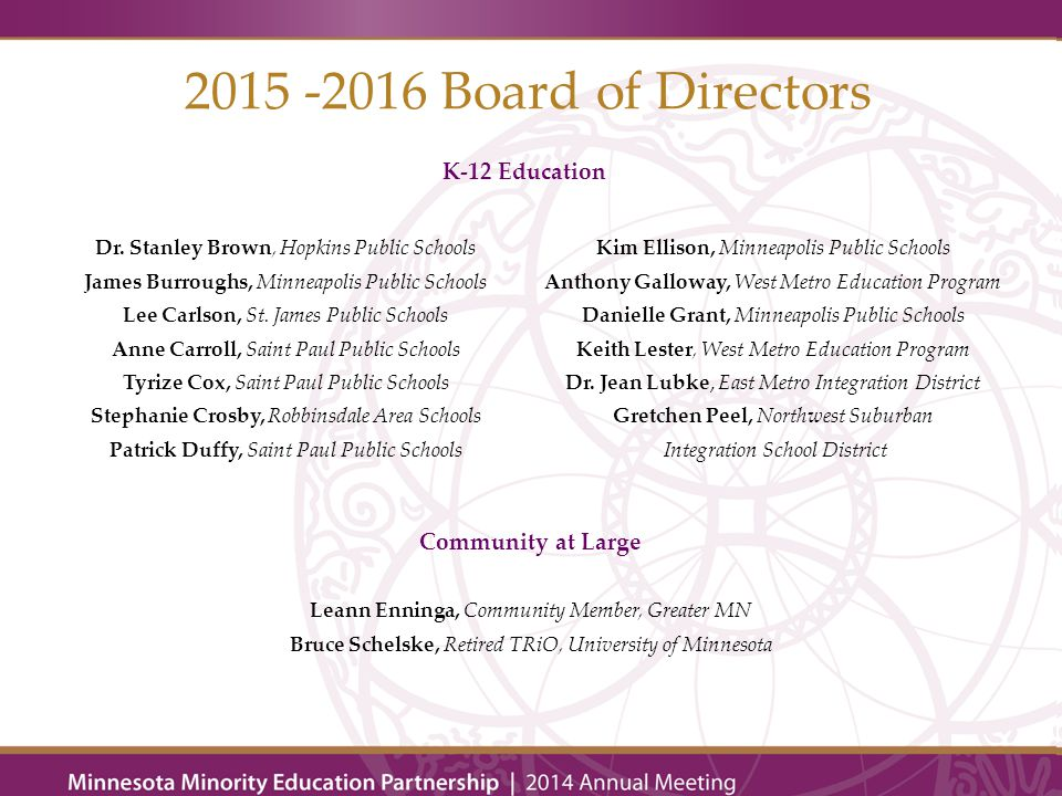 2015 -2016 Board of Directors Higher Education Dr.