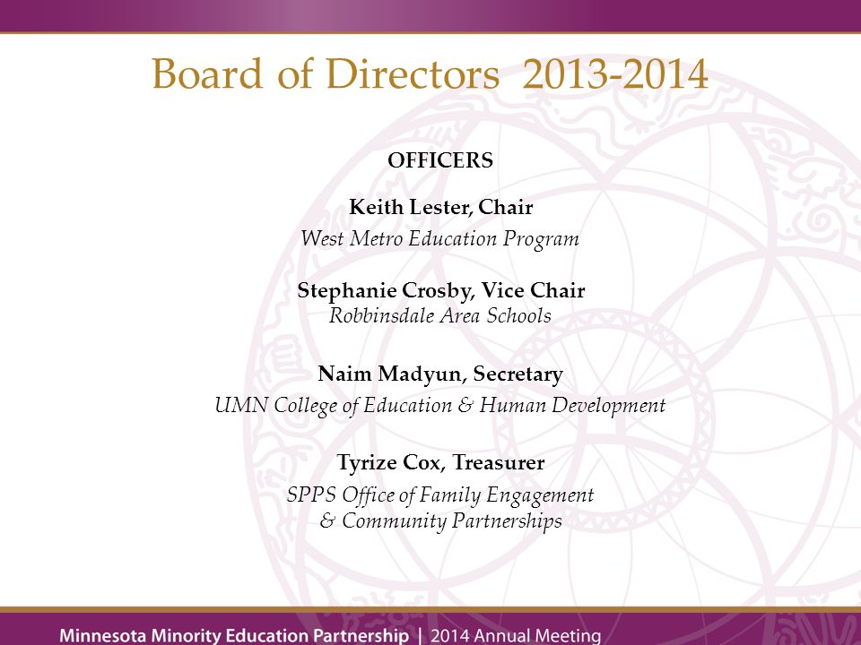 Board of Directors 2013-2014 MEMBERS K-12 Education Bradley Bergstrom, Austin Public High School Dr.