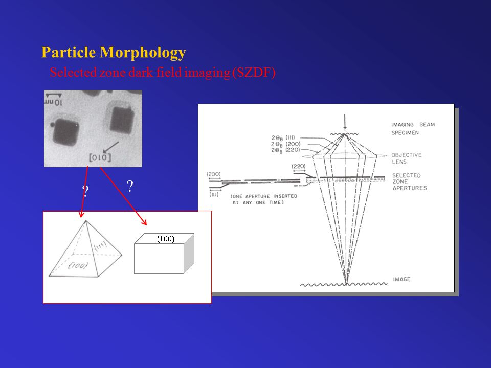 Particle Morphology Selected zone dark field imaging (SZDF)  (100) (110)