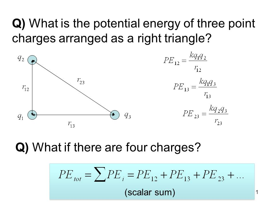 12 §17.2 Electric Potential Electric potential is the electric potential energy per unit charge: scalar 1 V = 1 J/C.