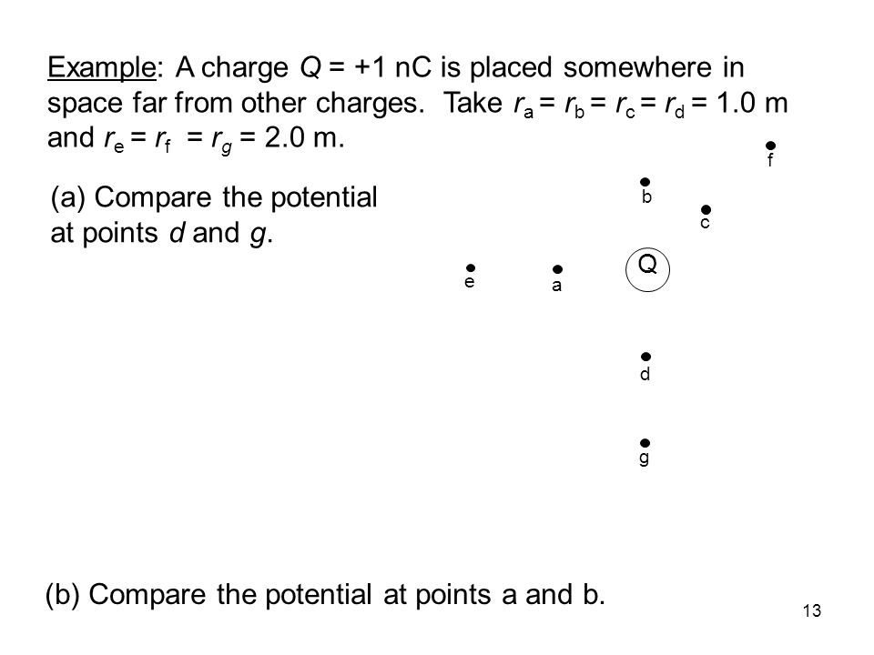 14 Q b a c e d g f Example: A charge Q = +1 nC is placed somewhere in space far from other charges.