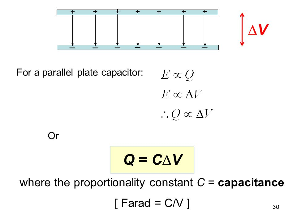 31 Note: C is a property of the device, it depends on A & d, capacity to hold charge.