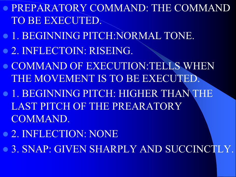 PREPARATORY COMMAND: THE COMMAND TO BE EXECUTED.1.