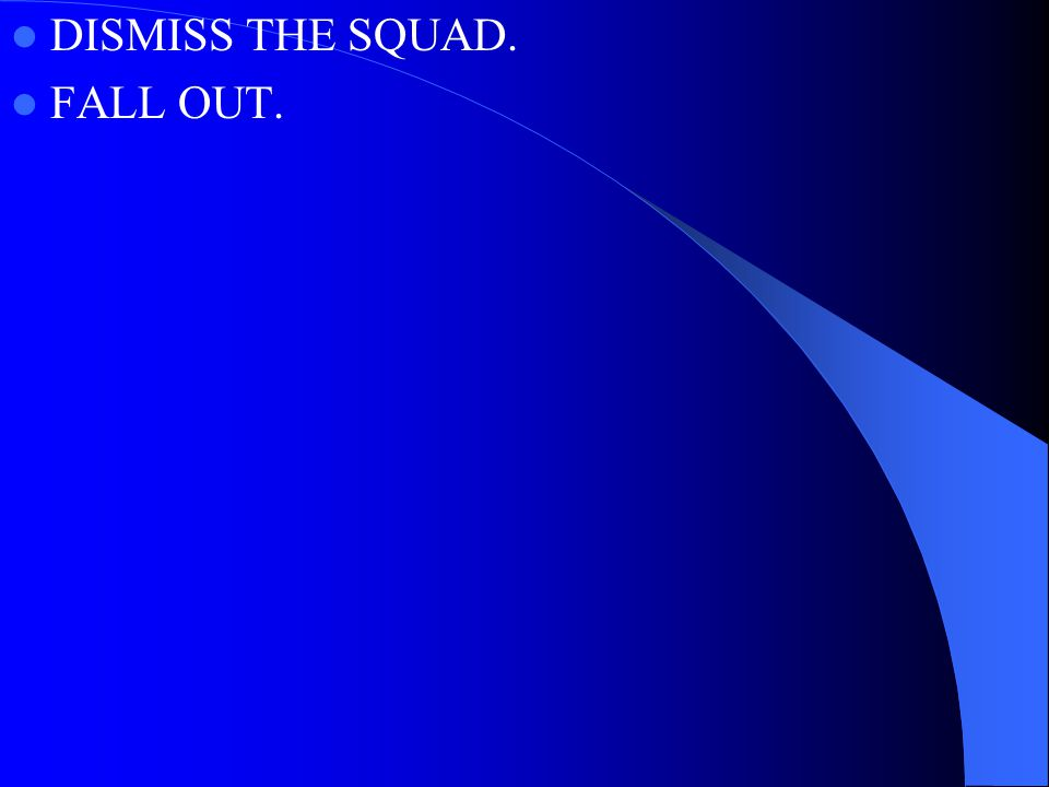 DISMISS THE SQUAD. FALL OUT.