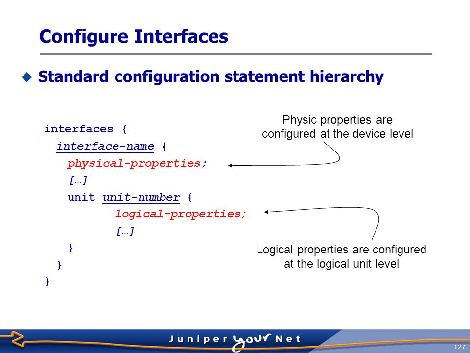 128 Interfaces Properties  Physical properties  Clocking  Scrambling  Frame check sequence (FCS)  Maximum transmission unit (MTU)  Keepalives  Other link characteristics  Logical properties  Protocol family (Internet, ISO, MPLS)  Addresses (IP address, ISO NET address)  Virtual circuits (VCI/VPI, DLCI)  Other characteristics