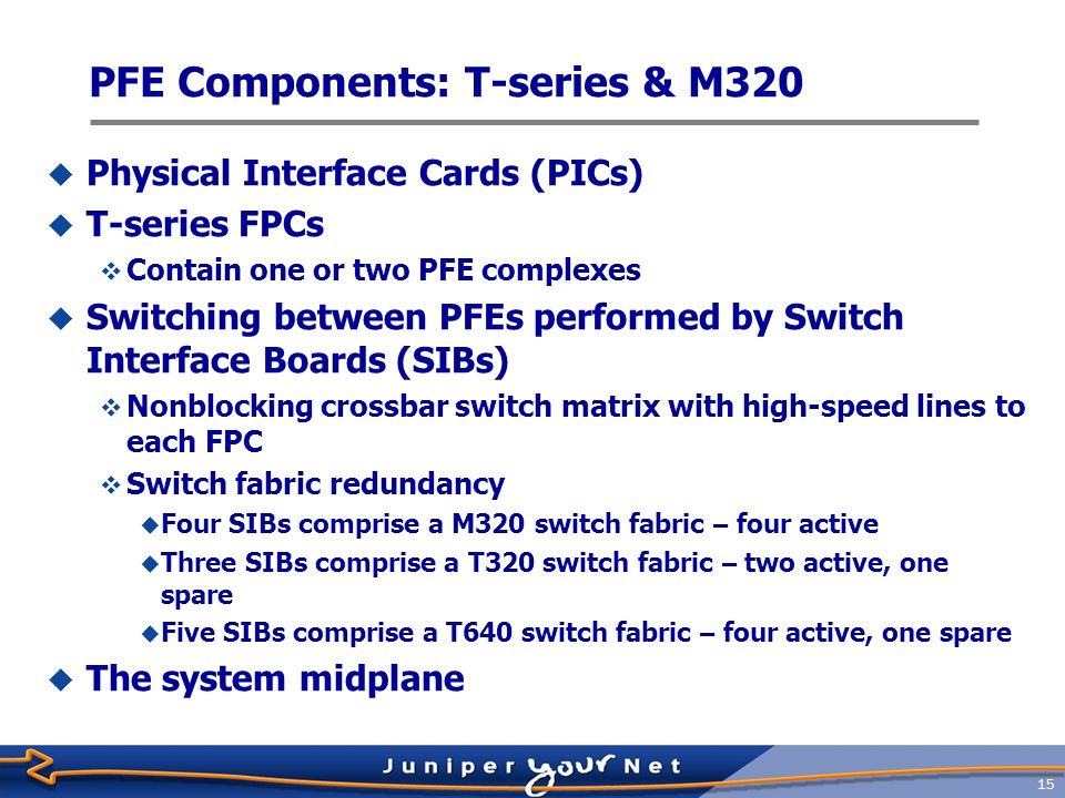 16 Physical Interface Cards  PICs currently support from 0 to 48 physical ports  Some PICs support channelized and advanced CoS options  IP Service PICs  Media-specific ASICs  Status indicators  Hot-swappable on all platforms except M20 and M40 routers  Slight disruption to other PICs in same FPC on M-series router