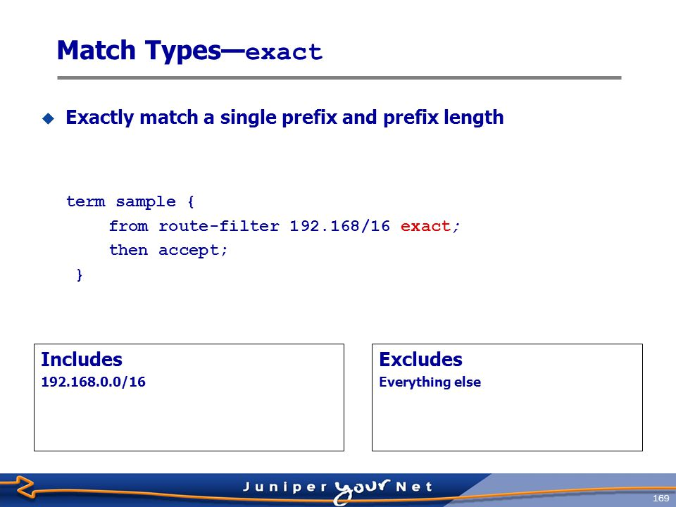 170 Match Types— orlonger  Greater than or equal to  Match a range of routes having the most-significant bits in common as described by the prefix length term sample { from route-filter 192.168/16 orlonger; then accept; } Includes 192.168.0.0/16192.168.12.4/30 192.168.0.0/17192.168.12.128/32 192.168.4.0/24 Excludes 192.0.0.0/8192.169.1.0/24 192.170.0.0/16