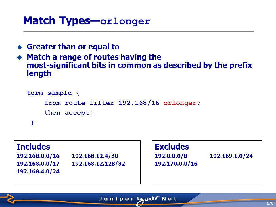 171 Match Types— longer  Match a range of routes having the most-significant bits in common as described by the prefix length, except the exact match  Greater than term sample { from route-filter 192.168/16 longer; then accept; } Includes 192.168.12.4/30 192.168.0.0/17192.168.12.128/32 192.168.4.0/24 Excludes 192.0.0.0/8192.169.1.0/24 192.170.0.0/16192.168.0.0/16