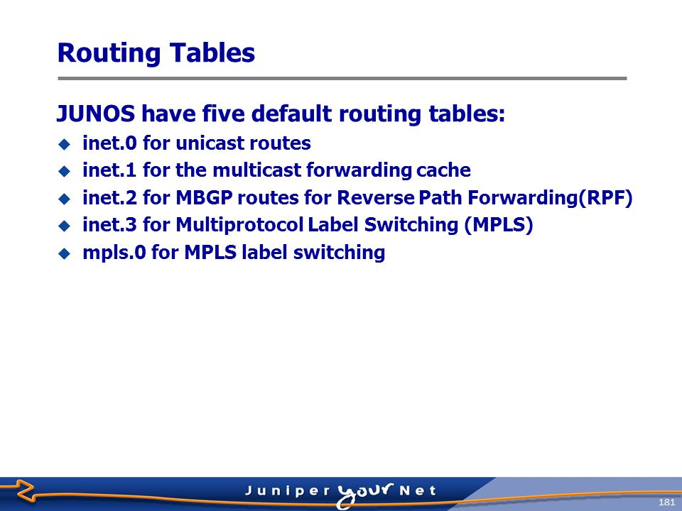 182 Routing Table Protocols  Within JUNOS software, there are many sources of routing information  Referred to as protocols in the routing table  Default protocols are:  Direct  Local  Static  RSVP  LDP  OSPF  IS-IS  RIP  Aggregate  BGP