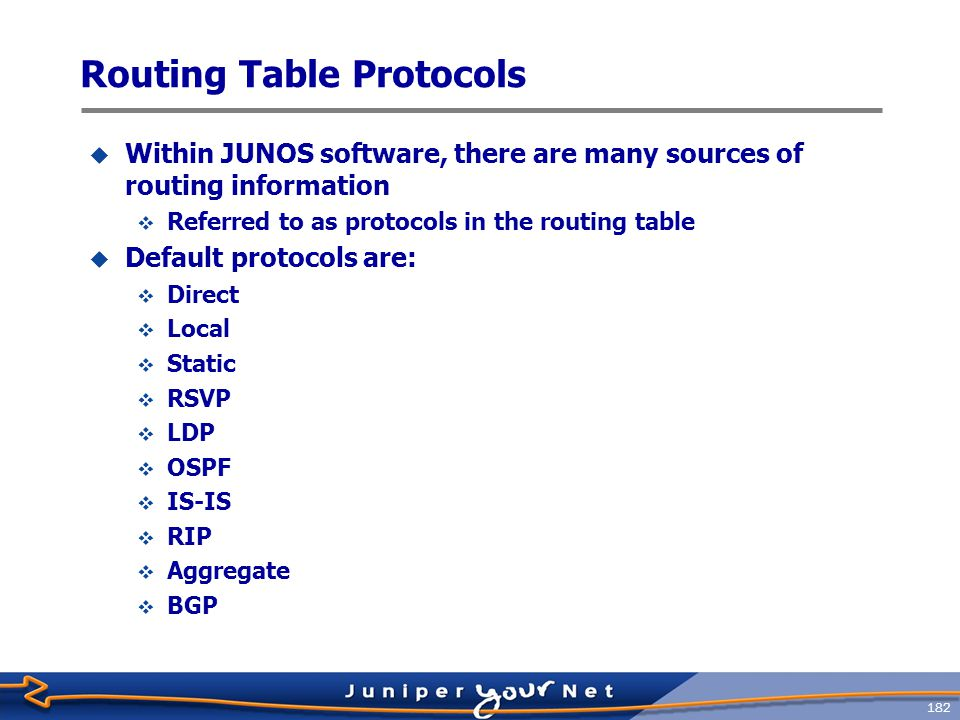 183 Protocol Preference  Each protocol has a default preference value  Preference is a measure of desirability  Used as a tie ‑ breaker  Protocols with a lower preference are preferred  Used when the same prefix is installed in the routing table by multiple protocols  Default preference values are:  Direct = 0  Local = 0  Static = 5  RSVP = 7  LDP = 9  OSPF = 10  ISIS = 15  RIP = 100  Aggregate = 130  BGP = 170