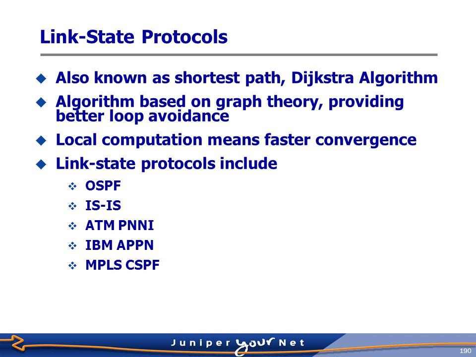 191  Adjacency  Information flooding  Link-state database  SPF calculation Fundamental Link-state Concepts