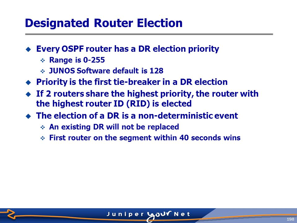 199 Backup Designated Router  If a DR fails, a new DR needs to be elected  The default 40 ‑ second wait time means the segment is unreachable within that period  To ease the transition, a backup designated router (BDR) is elected on every segment  The BDR watches and waits for a DR failure  Election rules are the same as for the DR