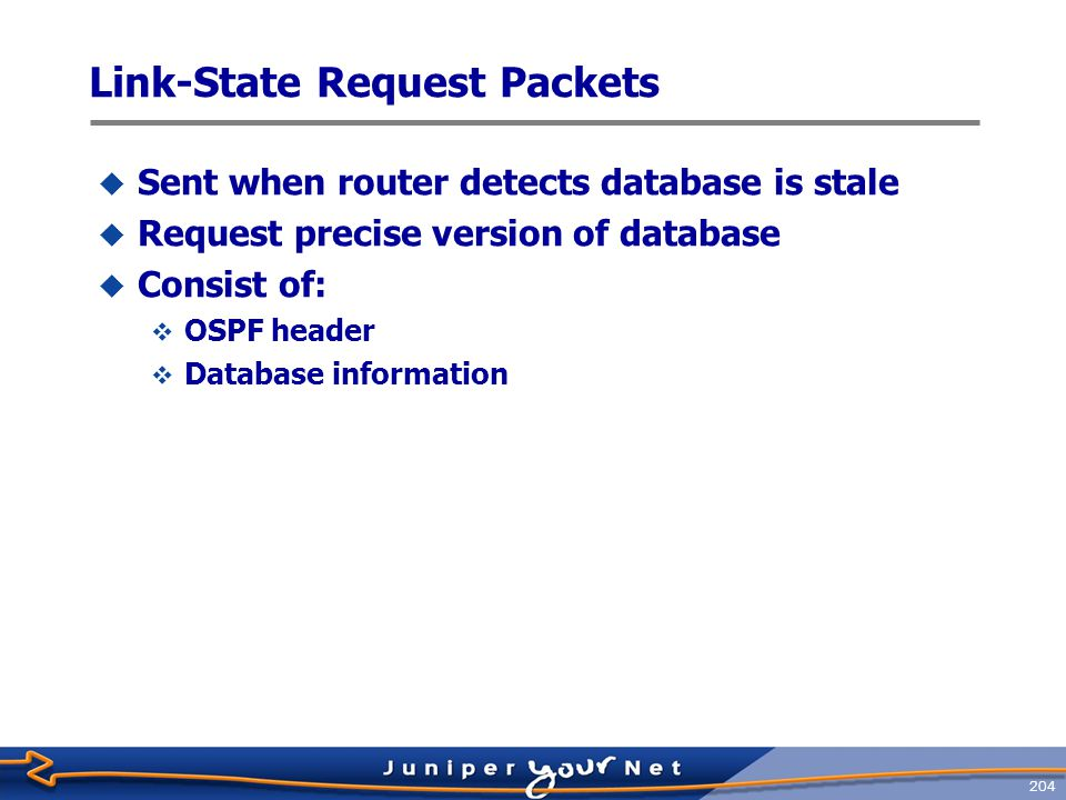 205 Link ‑ State Update Packets  Carry one or more link ‑ state advertisements (LSAs)  Multicast on physical networks that support multicast or broadcast mode  224.0.0.5 (All OSPF Routers) or 224.0.0.6 (All DR Routers)  All received link ‑ state updates are acknowledged  Retransmissions are sent unicast  Consist of:  OSPF header  Number of advertisements  Link ‑ state advertisements