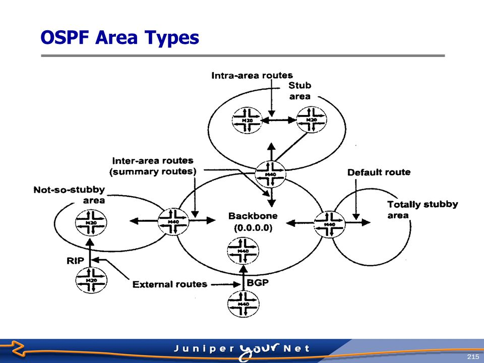 216 Agenda: OSPF  JUNOS Software OSPF Support  OSPF configuration  OSPF monitoring and troubleshooting