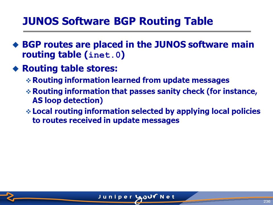 237 JUNOS Software BGP Route Selection 1.Can the BGP next hop be resolved.