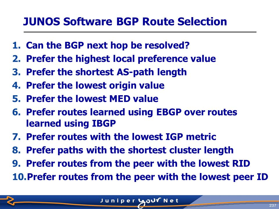 238 BGP Route Advertisement Rules  Advertise only the active BGP routes to peers  BGP next-hop attribute must be reachable  Never forward IBGP routes to IBGP peers  Prevents loops  Withdraw routes if active BGP routes become unreachable  Default BGP Advertisement Rules  IBGP advertises route learned from EBGP  EBGP advertises any route learned from IBGP or EBGP  IBGP does not advertise any routes learned via IBGP