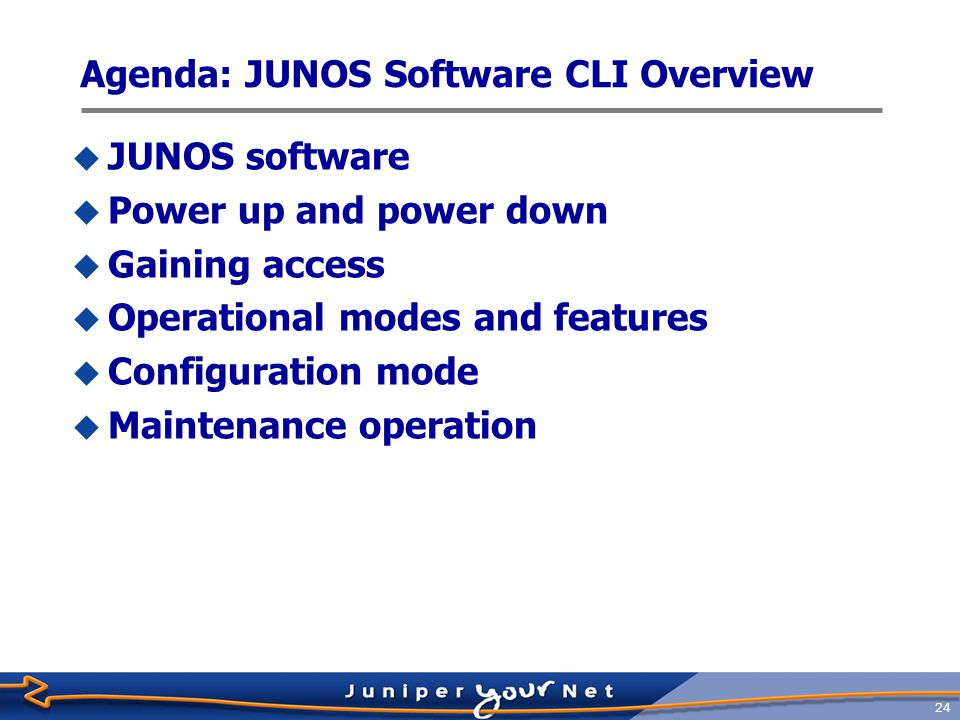 25 The JUNOS Software Difference M-SeriesT-SeriesMX-Series  Deployed since 1998  First high-performance network Operating System  10+ years of innovation and development  4 releases per year  Mbps to Tbps scale  Thousands of features for diverse set of needs  TL 9000 certification from QuEST Forum  Serving most demanding customers  Top 40+ service providers  High-performance enterprise and public sector accounts One OS Q407 8.59.0 Q108 9.1 Q208 One Release Modul e X One Architecture API