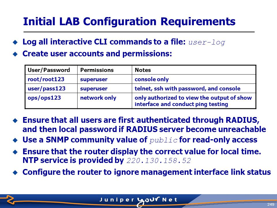 250 edit system set host-namehostx set time-zone Asia/Taipei set domain-nameabc.com set name server168.95.1.1 [edit] edit system [edit system]set host-namehostx [edit system] set time-zone Asia/Taipei [edit system]set domain-nameabc.com [edit system] set name server168.95.1.1 set ntp server220.130.158.52 set authentication-orderradius set login user lab class super-user authentication [edit system] set ntp server220.130.158.52 [edit system] set authentication-orderradius [edit system] set login user lab class super-user authentication plain-text-password [Enter] lab123 set servicestelnet plain-text-password [Enter] lab123 [edit system] set servicestelnet set syslog file lab-loginteractive-commands any [edit system] set syslog file lab-log interactive-commands any top [edit system] top set chassis alarm management-ethernet link-down ignore set snmp community public authorization read-only [edit] set chassis alarm management-ethernet link-down ignore [edit] set snmp community public authorization read-only commit [edit] commit Basic System Configuration