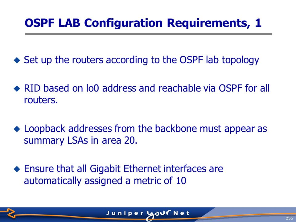 256 OSPF LAB Configuration Requirements, 2  The 10.0.5/24 subnet between r1 and r2 must appear in area0 as an external route.
