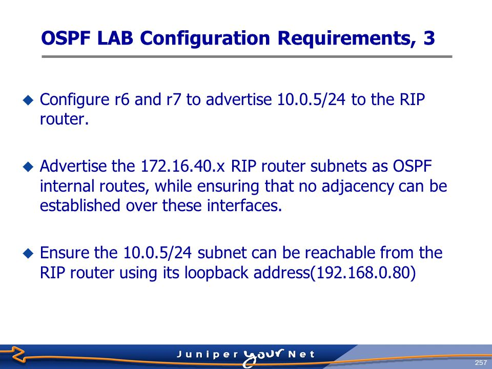 258 OSPF LAB Configuration Requirements, 4  No type 3 or type 5 LSAs in area 1.