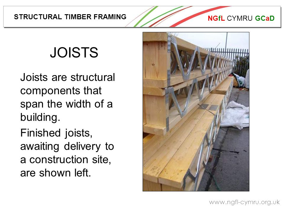 NGfL CYMRU GCaD www.ngfl-cymru.org.uk Roof trusses, delivered to site and awaiting fixing.