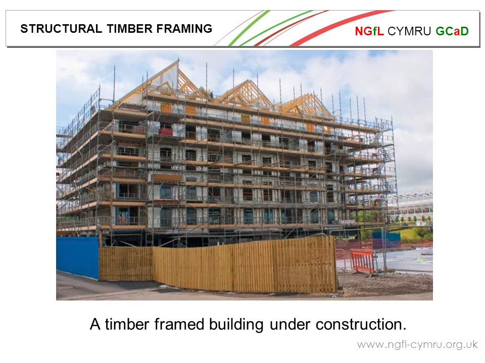 NGfL CYMRU GCaD www.ngfl-cymru.org.uk The foundation layout of a timber framed building is shown on the following slide, and construction methods of this type of foundation also follow.