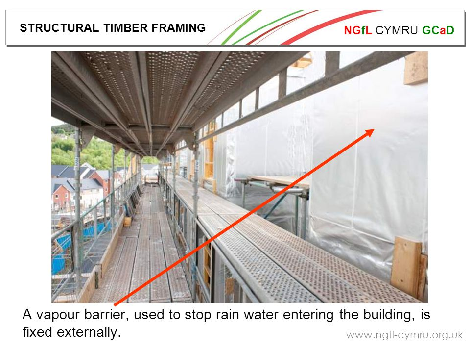 NGfL CYMRU GCaD www.ngfl-cymru.org.uk Battens are fixed over the vapour barrier, and insulation is fitted between the battens.