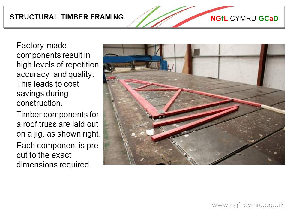 NGfL CYMRU GCaD www.ngfl-cymru.org.uk Timber parts are fixed together mechanically, using toothed steel plates.