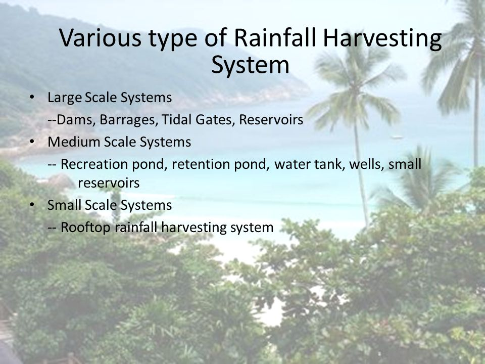Introduction Total Rainfall Yield = Roof Area X Drainage Coefficient (0.8) X Annual Rainfall = 100 m 2 X 0.8 X 2500mm per year = 200,400 liters per year Based on normal usage of 5 family members = 5 X 400 liters = 2000 liters per days = 730,000 per years Total Water Harvested and Monetary Saving ItemJBA water supplySavings using RHS Monthly usage (Based on water bill )260 m 3 180m 3 Monthly water bill (0.80/m 3 )RM 208.10RM144.00 Annual water billRM 2497.20RM 1728.00 Savings70%