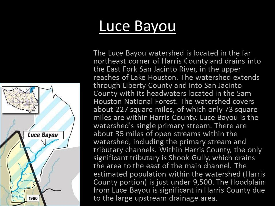 Luce Bayou Continued Luce Bayou is, for the most part, a natural, vegetated channel.