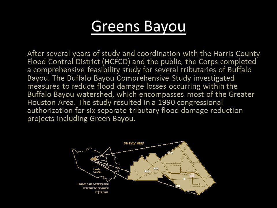 Greens Bayou Continued The authorized project included an enlargement of the channel, vegetation clearing, detention basins, tree and shrub plantings, and recreation features.