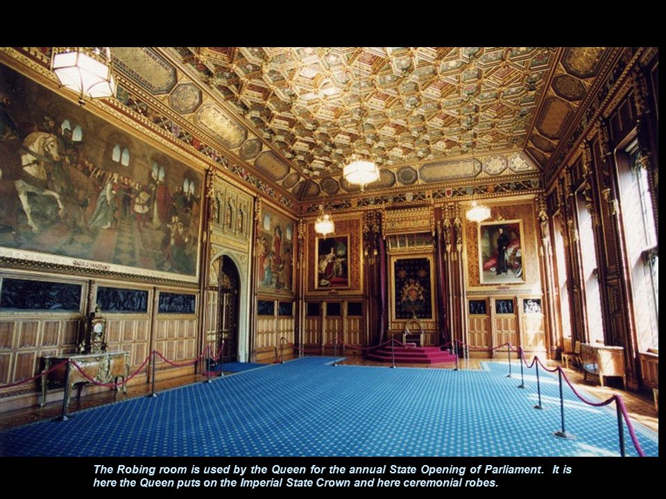 The Robing room is used by the Queen for the annual State Opening of Parliament.
